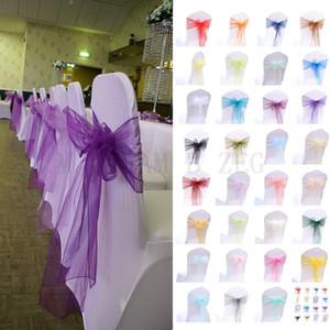 18*275cm Organza Chair Sashes Wedding Favor Sheer Organza Chair Covers Sashes Band Ribbons Bow Party Banquet Tool Multicolor Randomly Send