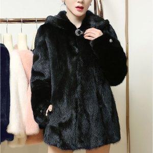 Uppin Faux Coat con capucha Lujo Cintura Alta Moda Flojo Blanco Mink Abrigos Mujer Conejo Piel Plus Tamaño Jacket Femenino