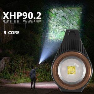 "Xhp90.2 super light source LED flashlight battery built in 18650"" ""portable flashlight rechargeable battery xhp70.2 high quality xhp70.2 lan"