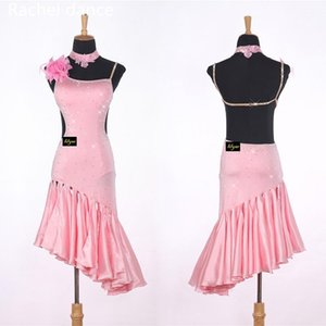 2020 Novas Marcas New Lady Latin Dance Skirt para Womens Azul Ajustável Estilos Latin Dance Dress Dance Concorrência Prática Dancewear1