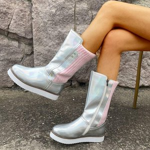 Mujeres Winter mitad de la pantorrilla Botas de las señoras de las muchachas del otoño plana talón cargadores de la manera que hace punto remiendo gruesos zapatos Cremalleras Plataforma de PU