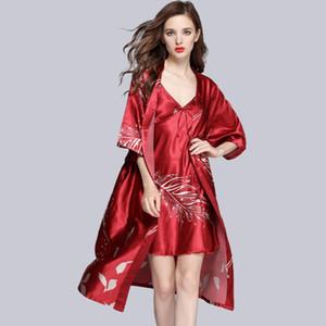 Seksi Kadınlar Robe Elbise Bayanlar pijamalar İpeksi Bornoz Gelin Düğün Robe Gown Giyinme Sleeprobe 2PC Setleri