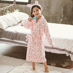 Moda Kids Bath Robes Invierno Niños Albornoz Niños Dibujos Animados Franela Bañera Bañera Girls Bella Suave Pijamas SzlaFrok Peignoir 210203