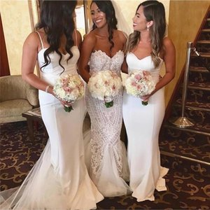 2021 Modest White Bridesmaid Dresses Mermaid Sexy Spaghetti Straps Long Maid of Honor Gowns Boho Garden Weddings Guest Prom Dress AL7271