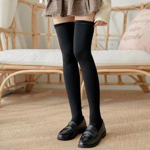 Kış Kadınlar Uyluk Yüksek Boots Çorap Peluş Çizgili Külotlu çorap Bacak Isıtıcı Açık Ayak Casual Çorap Kızlar JK Etekler Sorunsuz çorap