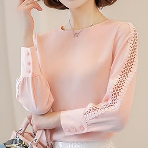 Womens Blouses Shirt Summer Hollow Out Lace Tops and Blouses Geometry Casual For Work Blusas White Pink 9 10 Sleeve Women Y200103