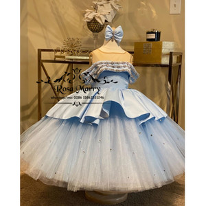 Light Blue Ball Gown Crystal Girls Pageant Dresses 2021 Christmas Plus Size Toddlers Birthday Party Gowns Cupcake Gowns For Kids