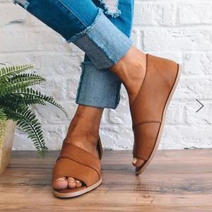 Große Größe 42 43 Gladiator Sandalen Frauen Schuhe Sommer Fisch Mund Casual Slip auf Flacher Strand Frau Sandalias Mujer # 9J0K