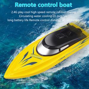 Venta caliente 2.4G Radio Control remoto Twin Motor Barco de alta velocidad Al aire libre Mini RC Rac Racing Boat Modelo Niño Regalo Verano Agua Juguetes 201204