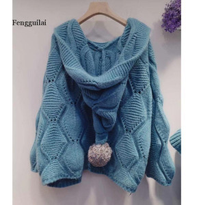 Autumn Korean Version Of The Loose Loose Thin Hair Ball Hat Wild Knitted Cardigan Jacket Sweater Women 201016