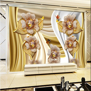 papéis de parede personalizados Jóias fundo de seda Mural Sala TV Wall Wallpaper 3D estereoscópico