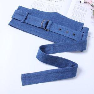 Mode Coton Tissu Large Slim Coset pour les femmes Bleu Noir large ceinture caestus Double Boucle RIng Ceinture Décoration 2020