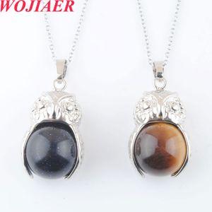 WOJIAER Natural Stones Pendants Necklaces Crystal Cute Owl Quartz Lapis Lazuli Round Ball Bead Pendant Women Jewelry Gift DBO921