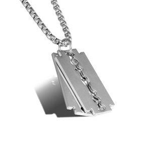 Wukaka punk hip hop rasage lame de rasage en acier inoxydable chaîne pendentif collier titane steel homme colliers cool garçon cadeaux hommes J J