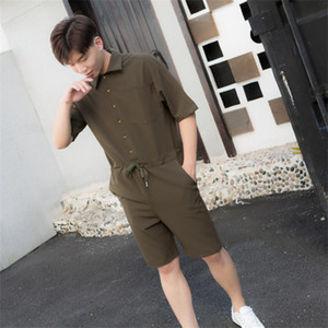 Summer pants men's Hong Kong style leisure sports Korean fashion pants work clothes trendy student one piece suit