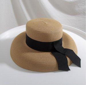 Seioum Summer Beach Sombrero de paja Mujer Boater Sombrero con corbata de cinta para vacaciones Audrey Hepburn Sun1