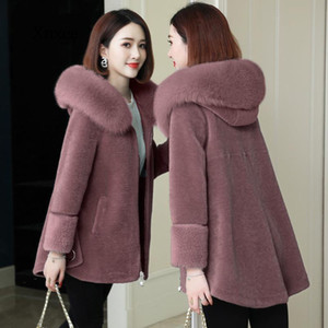 Winter Fur Jacket Womens Luxury Imitation Wool Fur Coats Hooded Loose Long Outerwear Lady Plus Size Coat