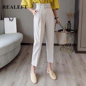 ReaLeft 2020 Novo estilo Olha Branco Calças Formal das Mulheres Casuais Calças de Lápis Chic com Cinto Cintura Alta Calças Elegantes Calças Femininas A1105
