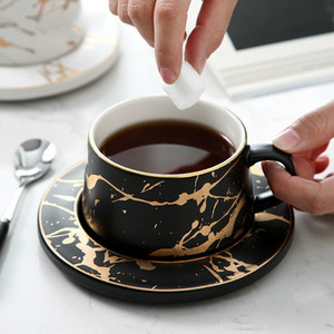 Nordic Style Marble matte gold series ceramic tea cup coffee mug luxurious Vintage Cafe Bar Mark cup Christmas party supplies