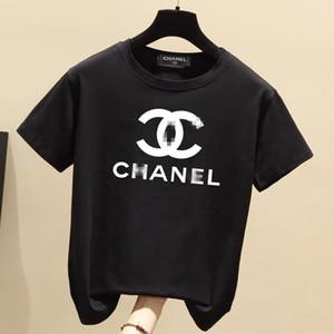 여성을위한 최신 봄 / 여름 2020보고 채널은 양고기와 다이아몬드 인쇄 SM-5XL 놓은 반팔 T 셔츠입니다