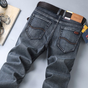 Sulee Top Hombres Hombres Jeans Mustache Efecto Mid Rise Denim Jeans Medio Calca Jeans Masculina 201111