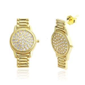 Verkauf von Mode Heiß S925 Sterling Silber Temperament Ins personalisierte Uhr Zirkon Ohrringe Vielseitige Beliebte Ohrringe