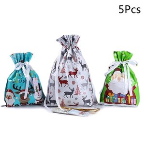 5Pcs Lot Christmas Gift Bag Candy Bag Wedding Party Cookie Small Decorations New Year Presents Baking Package Party Supplies