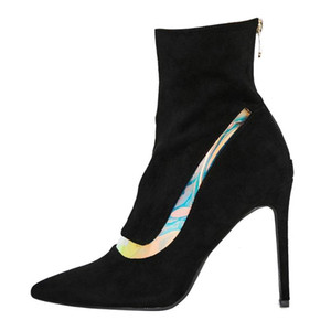US4-11 Womens Pointy Toe Suede Leather Match Colors Ankle Boots Stilettos High Heel Shoes Pull On Sexy Plus Size