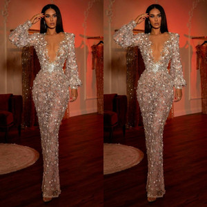 2021 Luxurious Beaded Evening Dresses Long Sleeves Deep V Neck Mermaid Prom Dress See Through Sexy Party Second Reception Gowns