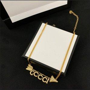 Regalo del partito Spilla Orecchini alta qualità del braccialetto di lusso collana lettera Lettera femminile oro nuovo retro strass Stamp