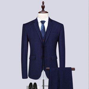 (Jacket+Vest+Pants)2020 High quality Men Suits Fashion Stripe Men's Slim Fit Business Groomsmen Best Men Wedding Suit Man Blazer