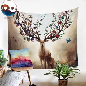 Seasons Change by JoJoesArt Tapestry Floral Deer Wall Hanging Animal Printed Sheets Maternal Love Bedding Decorative Tapestry Towel
