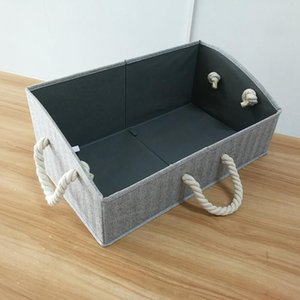 Grey Large Storage Bins Foldable Fabric Trapezoid Organizer Boxes with Cotton Rope Handle, Collapsible Basket