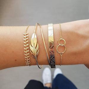 5Pcs set Bohemian Gold color Moon Leaf Crystal Opal Open Bracelet Set for Women Punk Boho Beach Bangle Jewelry Gift