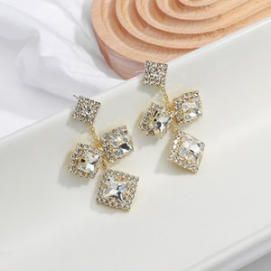 Dominated Exaggerated Fashion Full Crystal Geometric Earrings Shiny Big Gem Long Women Drop Earrings Jewelry Gift Female