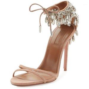 2020 летний новый сексуальный ремешок горный хрусталь кожаный открытый носок женские сандалии кристалл кисточек Stiletto Heels1