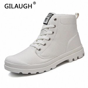 Gilaugh Мода Высокие Кроссовки Женщины Холст Обувь Весна и Осень Высокое Качество Женщины Повседневная Обувь Кружева Уайт Белая Женская плоская # Q02M