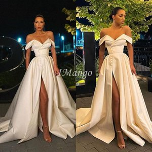 Off The Shoulder Wedding Dresses 2021 With Side Split Boho Lace-Up Back Beach A-Line Bridal Gowns Princess Plus Size Vestidos De Novia