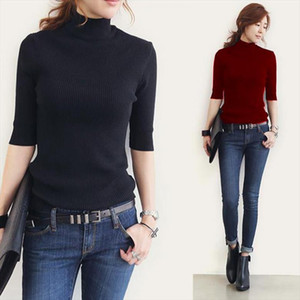 women sweater spring and summer knitted sweater women half sleeve turtleneck shirt poncho Drop Shipping High Quality