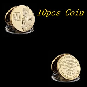 10pcs America Muhammad Ali-Haj The Boxing Champion Of The World Sportsman Century 1OZ Gold Plated Souvenir Coin