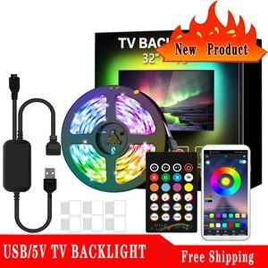 Ultra Parlak Işık LED TV Arka Işık 2 M USB RGB Casing Yama Dekoratif Işık Bar 5050 Esnek Işık Çubuğu