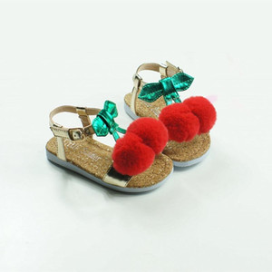 Lovely Cherry Girls Sandals Upscale Children Beach shoes Party sandals Pom Pom Baby moccasins