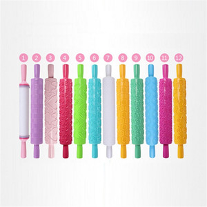 Plastic Engraved Rolling Pin Cake Baking Cookies Biscuits Embossing Rolling Pins Fondant Pastry Cake Engraved Roller