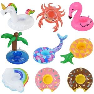 Inflatable Cup Unicorn Flamingo Drink Holder Swimming Float Bathing Pool Toy Hawaiian Summer Party Decoration
