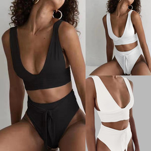 Hot Sexy Women's Underwear Set Fashion Solid Color Bathing Suit High Waist Tankinis Push Up Padded Female Intimate Traje De Bao