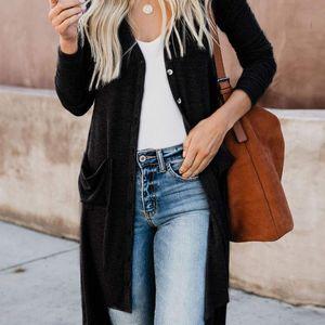Женщины Retro V-образные шеи однобортный сплошной цвет кардиган свитер с длинным рукавом