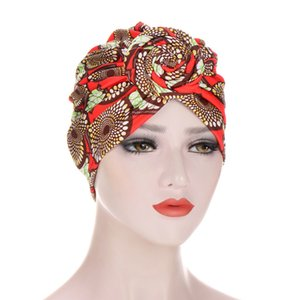New Turban Hats for women Pre Tied Silky African Pattern Knot Headwrap Caps for Cancer Muslim hijab Turbans for women