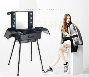 Professional LED Cosmetic Case with Lights removable wheels Beauty Trolley Box with LED Lights 4 Types legs and without