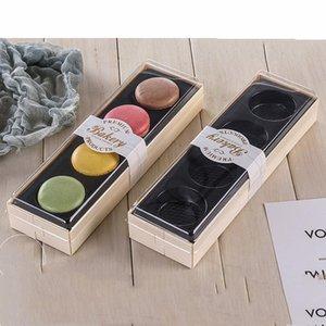 Embalagem bonita Macaron Wedding Party Box Sobremesa 4 Pack Bolo de armazenamento Biscuit de madeira caixa de bolo Decoração Baking Acessórios AHF2939