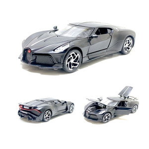 1/32 New Bugatti La Voiture Noire Modelo Juguete Deportes Aleación de Aleación Muere Fundido Pull Back Sound Light Supercar Toys Vehículo Niños Juguetes X0102